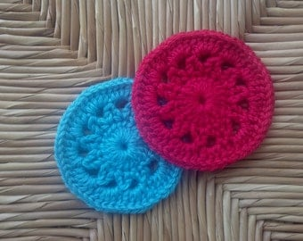 Pin wheels Crochet Coasters Red and turquoise -set of 2