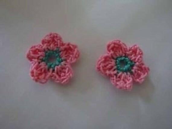20 Crochet apple blossom Flower Appliques Trim Craft