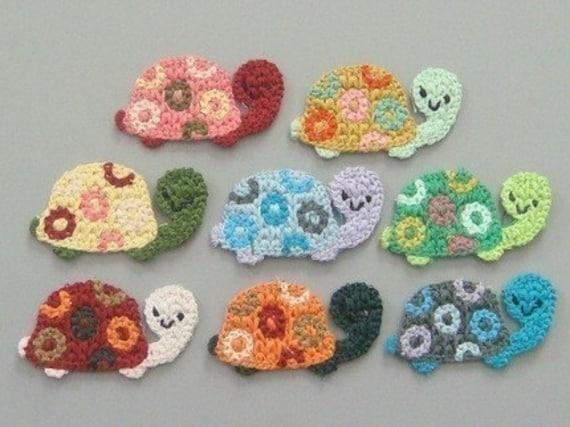 8 Crochet Turtle Appliques 8 Colors