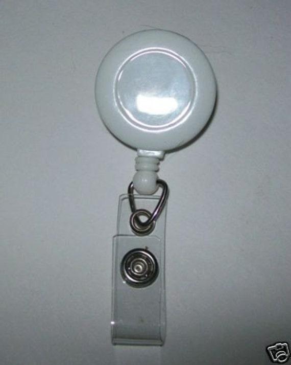 25 New white Badge Retractable Reels Lanyard Badge Reel