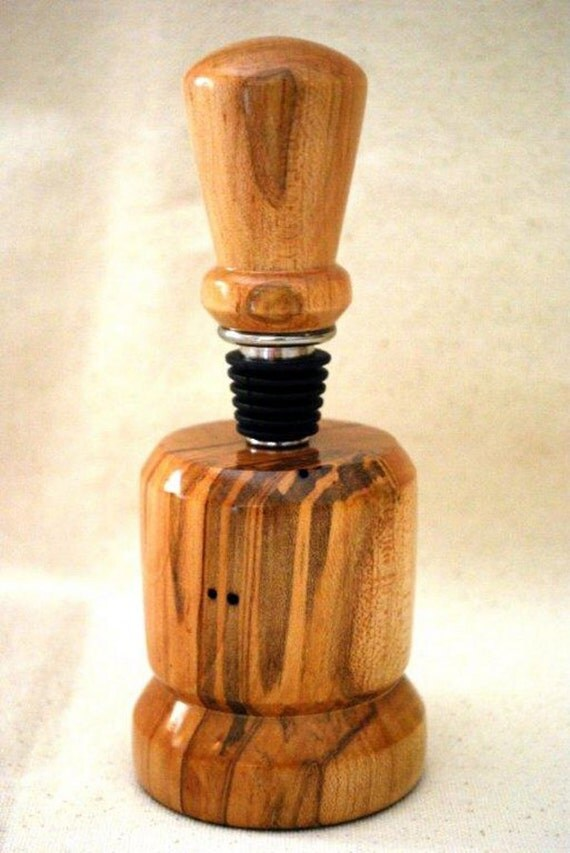 Wine Bottle Stopper and Stand, Ambrosia Maple, Stainless Steel, Handmade