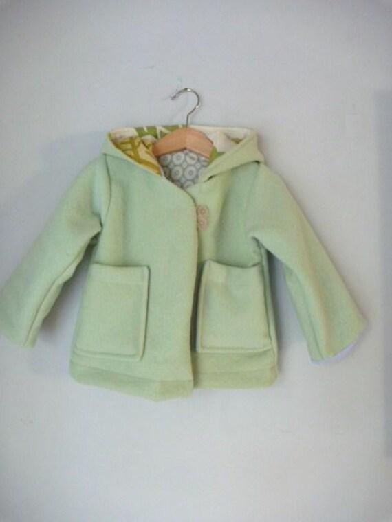 children clothing, reindeer coat in sorbet green wool size 2