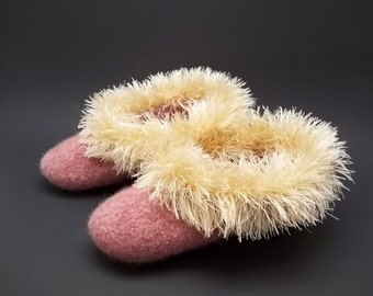 Warm Fuzzies, a crochet felted slipper PDF Pattern-Instant Download