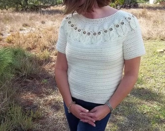 It's a Hoot Owl Ladies Pullover Sweater- Instant Download Crochet Pattern