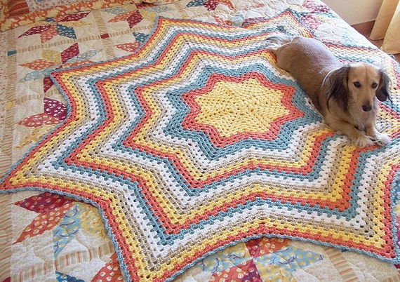 Granny Star, an Eight Point Round Ripple Afghan Crochet Pattern. Instant download.