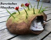 """wonderful felted cat cave """"flowers and grass on top"""""""