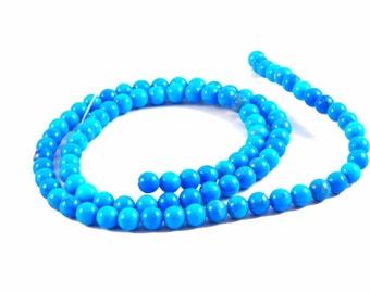 "4mm Round Turquoise Howlite Beads - Full 16"" Strand"