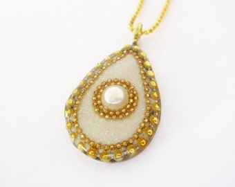 Teardrop gold pendant with a pearl, white silver pendant, Pearl necklace, gold filled chain