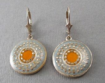 Green Orange earrings, Sterling silver round earrings, leverback earrings