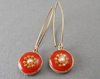 Red hook earrings with pearl - Gold earrings - pearl earrings