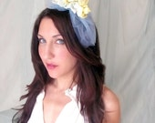 Spring -  Headband, Tiara, Crown, Lace, Silk & Pearls Yellow and Blue, wedding hair, hair accessory, easter, spring, prom