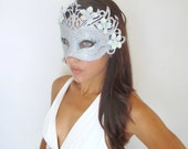 Cyber Monday SALE %15 off SALE Halloween Mask, Masquerade, Vampire Queen, Witch, Fairy, Hair Accessories,Silver Blue -GHOST -