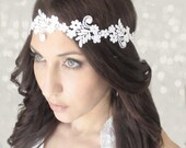 Milosc - Headband white lace, Gypsy Love, Headband, wedding hair,bridal hair accessory,
