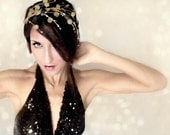 Headband Crown Gold Cascade Sequins, Mardi Gras, wedding hair, hair accessory christmas