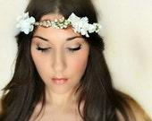Sakura and Lilacs, Wedding Flower Crown, Whimsical Headband, Tiara, white, fairy wedding bridal - LINEAA -