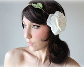Bridal Flower Crown, Whimsical Headband, Lace & Pearls, head wreath, bridal, fairy - MUSE -