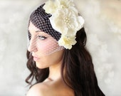 Wedding Flowers and Veil, 5 pc set, Hair Flower, Lace and Pearl, Tiara, Ivory, wedding accessory, bridal headpiece - JOSIE -