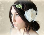 Ivory Flower Crown, Whimsical Headband, Lace & Pearls, head wreath, bridal, flower girl, fairy - MUSE -