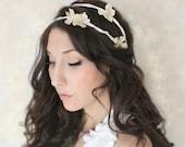 Ivory / Cream Flower Crown, Woodland, Fairy Wedding, Tiara, wedding accessory, bridal headpiece, flower wreathl - JUNE -