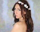 Pink Flower Crown, Woodland Wedding, bridal accessories, wedding hair, tiara, white, flower halo, white - VICTORIA -