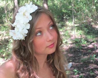 Flower Girl, Wedding Headband, Hair Flower, White, Head Wreath, woodland wedding accessory, hair accessory - HUSH - princess, fairy,