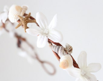 bridal headband, bridal headband ,bridal headband ,Beach wedding crown, sea shells and starfish,  , wedding tiara, by DeLoop