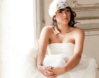Lace  Bridal Cap, Wedding headpiece, wedding accessories, lace hat, bridal hair - LANNA  -