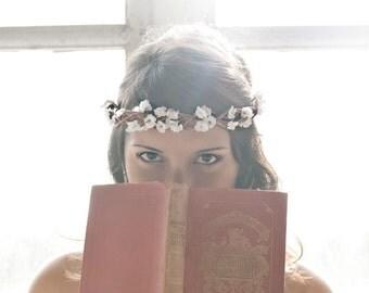 SALE Flower Crown, Wedding, White Tiara, wedding accessory, bridal headpiece, flower girl - ANNE - by DeLoop