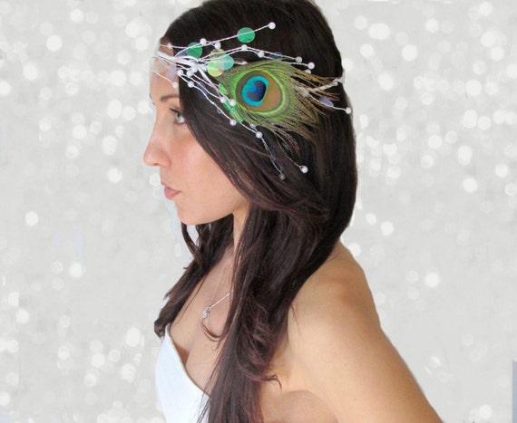 Peacock Feather Crown, Wedding Accessory - La Diamant - Feather Headpiece, Mardi Gras, Crown, hair feather, wedding accessory