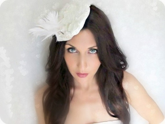 White Feather Hat Vintage Rhinestone Brooch Detail, Royal Wedding, wedding, mardi gras