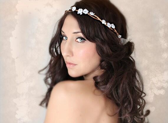 Tiny Rustic Flower Crown, woodland wedding, bridal accessories, wedding hair, tiara, white,flower halo- JANELLE -