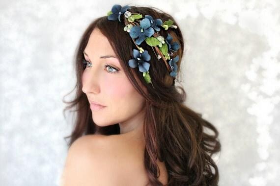Flower Crown, Cascade Blue Flowers, Wedding Tiara, Bridal Hair Wreath, head wreath, fairy, woodland - FELICE-