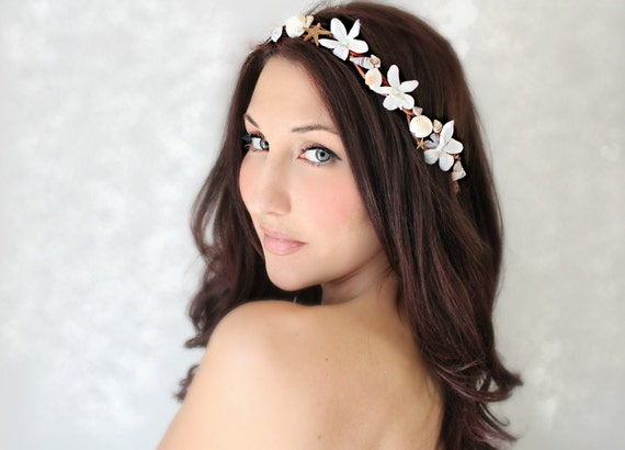 Seashells Starfish & Jasmin, Beach Wedding Flower Crown, White Tiara, wedding accessory, bridal headpiece - LAYLA -