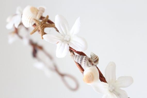 Beach Wedding Flower Crown, Seashells, Starfish, White Tiara, wedding accessory, bridal headpiece - LAYLA -