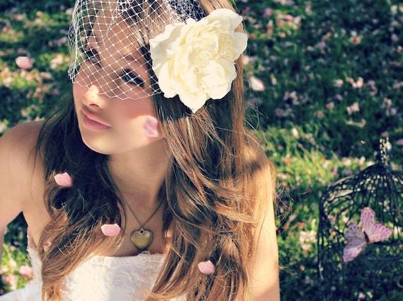 Wedding Hair Flower & Veil 2 pc set, Ivory, wedding accessory, bridal headpiece - LORAIN - by DeLoop