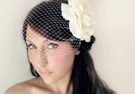 Custom order ivory  Bridal Birdcage Veil an Flower, 2 pc set,, Hair flowers,Ivory or White, wedding accessory, bridal headpiece - JOSIE -