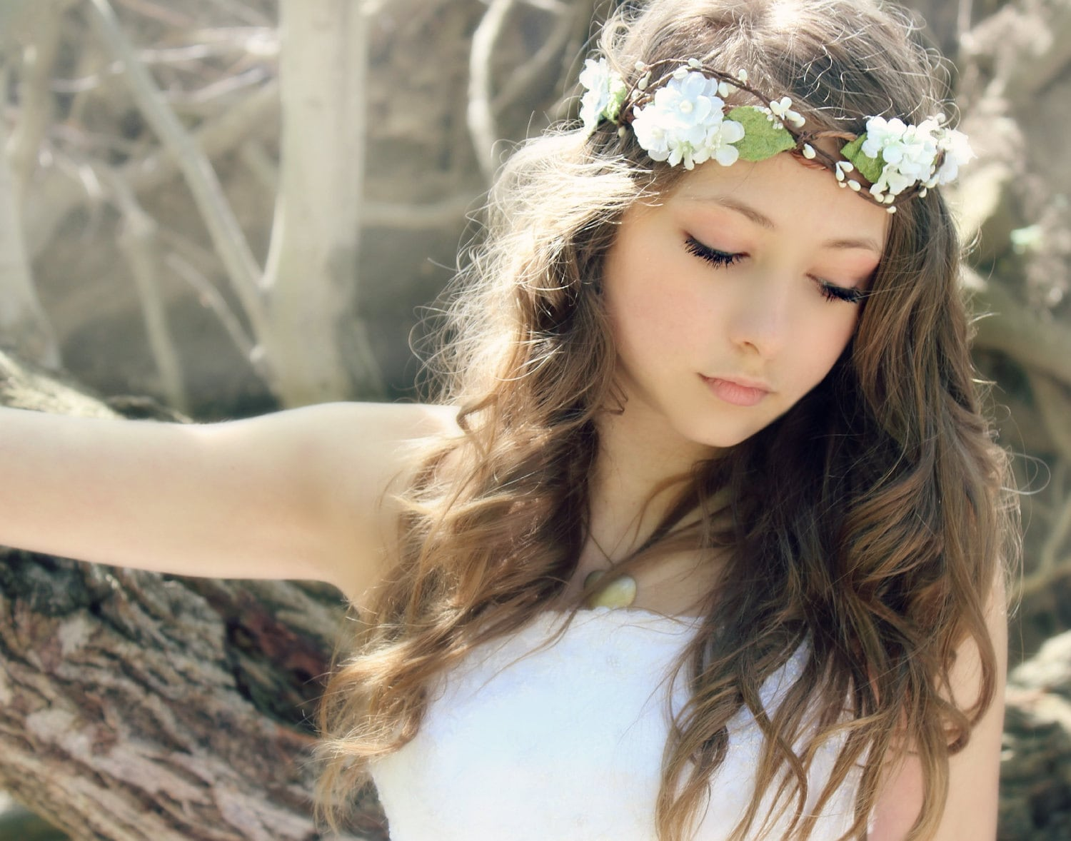 Flower Crown Millinery Leafs Woodland Wedding Hair by deLoop