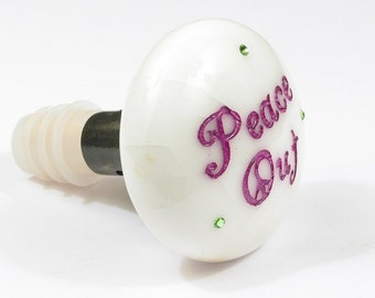 Vintage Porcelain Door Knob Bottle Stopper Topper PEACE OUT w Crystals for Wine & Absinthe