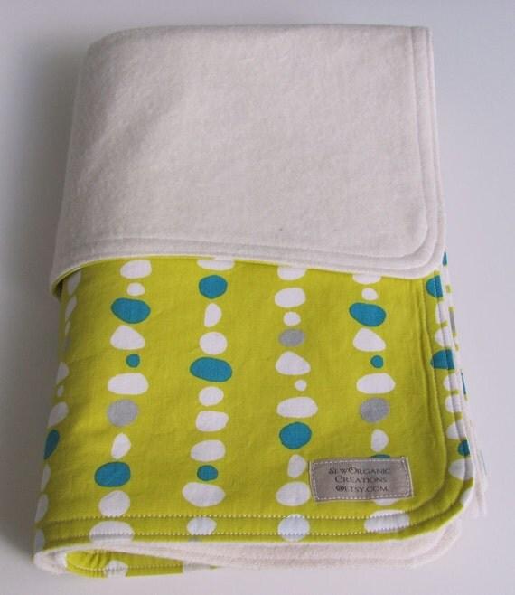 Organic Monaluna for Birch Fabrics Circa 50 Pebble Lines Citron with Organic Flannel Stroller Blanket