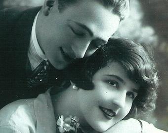 Deco French Lovers Couple 2 Antique unique Original Post Card real photo Photograph Postcard RPPC