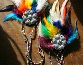 CHROMATICA...Rainbow Feather Headpiece, Hairclips for Dancing in the Sun, etc...SPRING SALE... Tribal Belly Dance... Fantasy