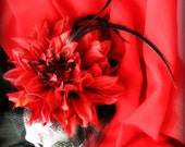 DAHLIA ROUGE ... Fascinator, Dramatically Awesome For Tea Parties in  WONDERLAND ... Red and Black, Flower and Feather ... Prom, Pin-up