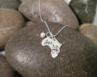 Custom Hand Stamped Africa Cut Out Necklace in the shape of Africa Sterling Silver