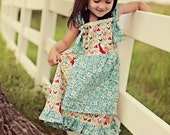 Chicken and Blossoms Knotty Apron Dress-custom slot for sizes 2T- girls 6