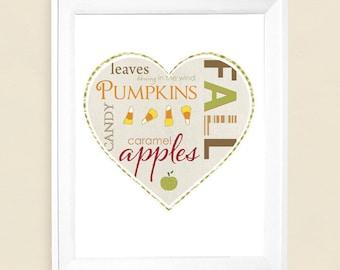"Fall Autumn  Love  Art Print   5""x7"" up to 16""x20"""