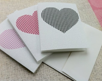 6 pretty houndstooth Heart Notecards