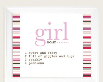 Girl Art Print, Pink Art, Girl Bedroom Art, Nursery Art, New Baby Art
