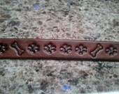 "Leather Dog Leash 1""x62"" hand stamped with paw prints and doggy bones"