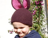 Bunny Hat- Dark Brown & Rose Pink Ears   Baby-Toddler Size- Other Colors Available. Order for Easter
