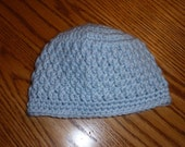 Newborn 0-3 months Light Blue Boys Beanie Hat  Photography Prop READY to SHIP